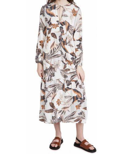 Платье макси с длинными рукавами с декольте в цветочный принт Rachel Pally