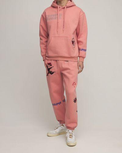 Różowa bluza kangurka bawełniana z haftem Kidsuper Studios