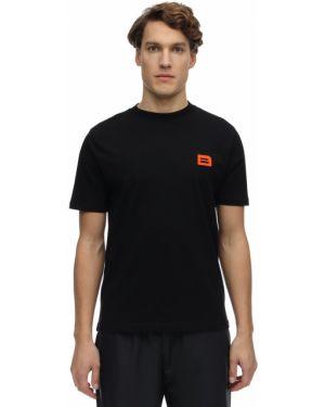 Czarny t-shirt bawełniany z haftem Botter