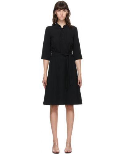 Черное платье с воротником с карманами из крепа A.p.c.