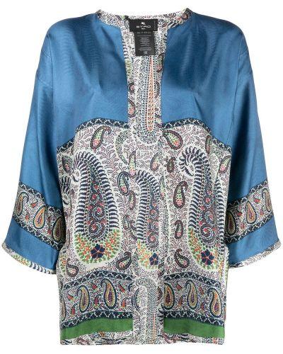 Niebieska tunika krótki rękaw z jedwabiu Etro