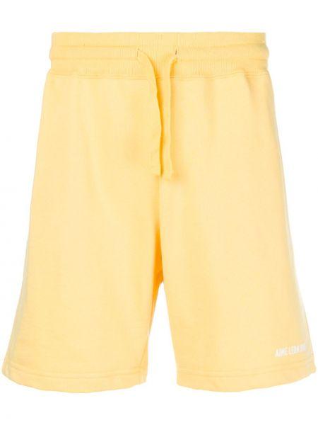 Żółte szorty bawełniane Aime Leon Dore