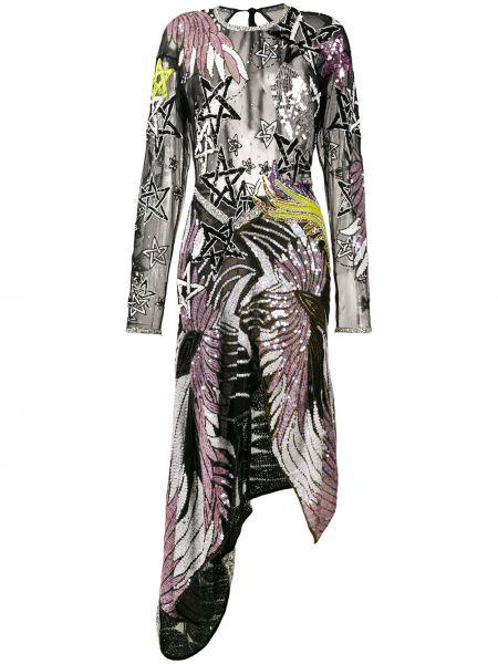 Асимметричное шелковое платье миди с пайетками с вырезом Preen By Thornton Bregazzi