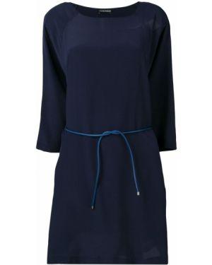 Платье с поясом трапеция с вырезом Emporio Armani