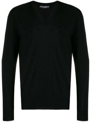 Klasyczny czarny sweter wełniany Dolce And Gabbana