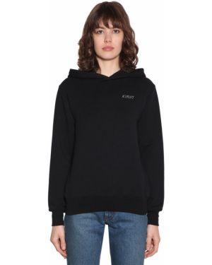 Prążkowana czarna bluza z kapturem Kirin