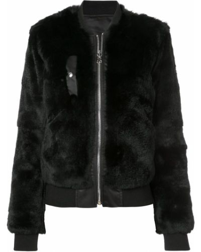Черная куртка с мехом с манжетами Barbara Bui