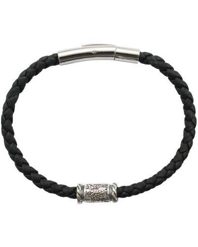 Кожаный браслет металлический Swanky