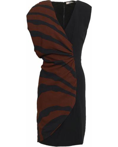Черное платье мини с оборками на крючках Roberto Cavalli
