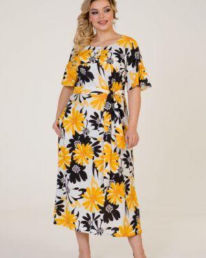 Платье миди на пуговицах с поясом марита