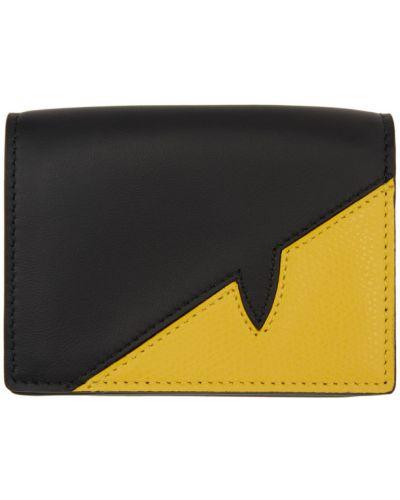 Текстильный черный кошелек для монет с тиснением Fendi