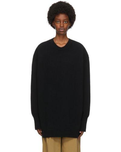 Шерстяной черный свитер с воротником с манжетами Studio Nicholson