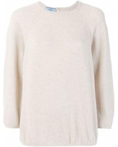 Бежевый свитер в рубчик Prada