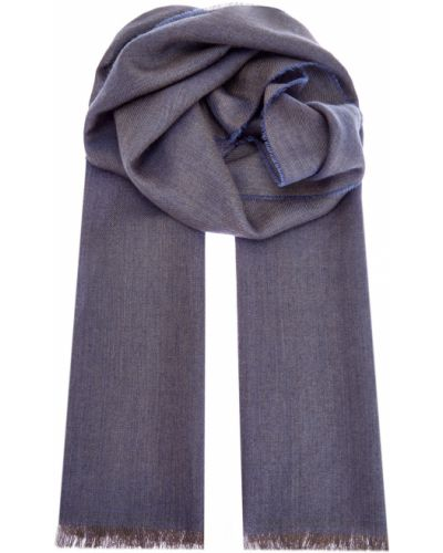 Серый кашемировый шарф с бахромой Bertolo Cashmere