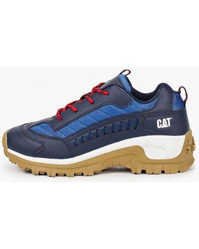 Синие кожаные кроссовки Caterpillar