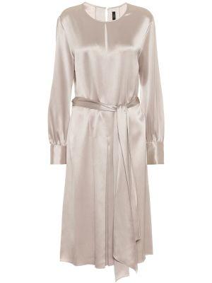 Серебряное шелковое вечернее платье Joseph