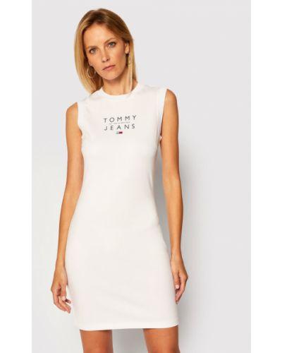 Biała sukienka jeansowa na co dzień Tommy Jeans