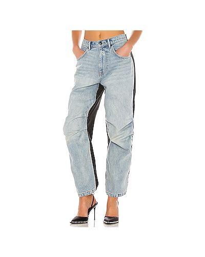 Нейлоновые джинсы с манжетами на пуговицах Denim X Alexander Wang