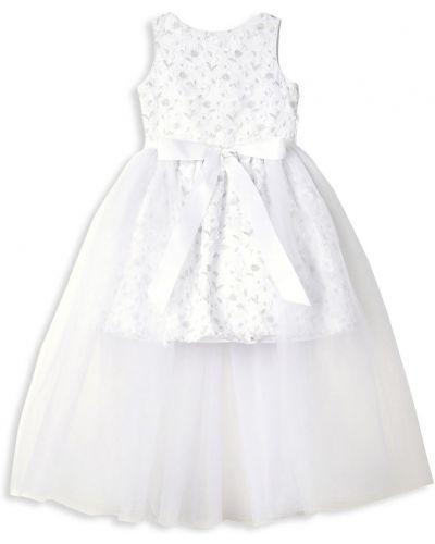 Свободное белое платье макси прозрачное Badgley Mischka