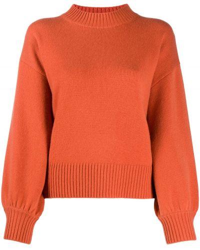 Оранжевый шерстяной джемпер с воротником в рубчик Allude