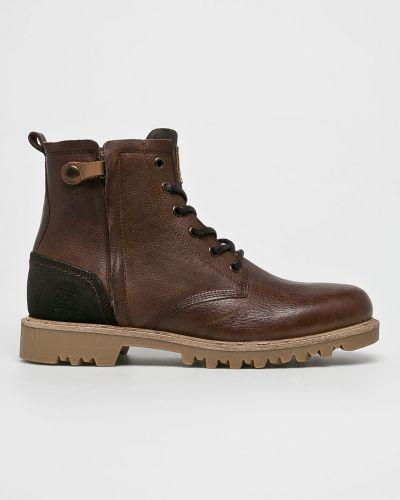Кожаные ботинки на шнуровке высокие Bullboxer