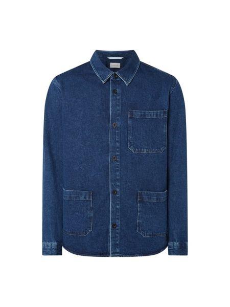 Niebieska koszula jeansowa bawełniana z długimi rękawami Nowadays