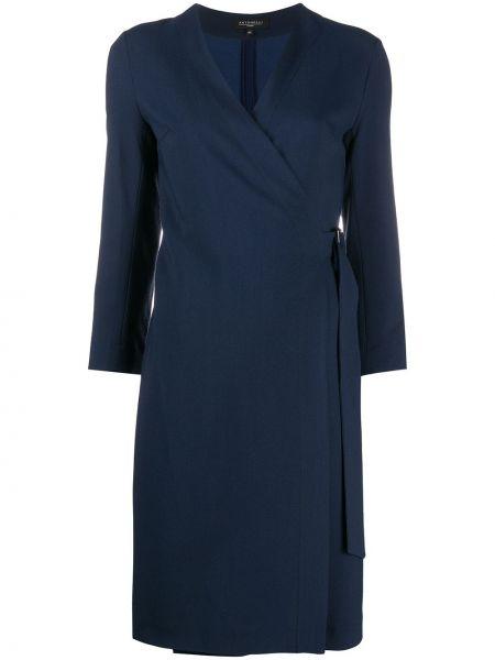 Шерстяное синее платье макси с длинными рукавами Antonelli