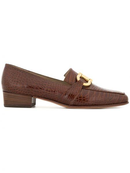 Коричневые кожаные лоферы с квадратным носком Salvatore Ferragamo Pre-owned