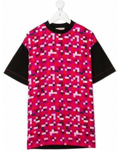 Красная прямая футболка из вискозы с круглым вырезом Marni Kids