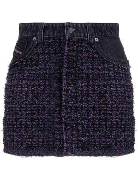 Черная кожаная джинсовая юбка со вставками Diesel