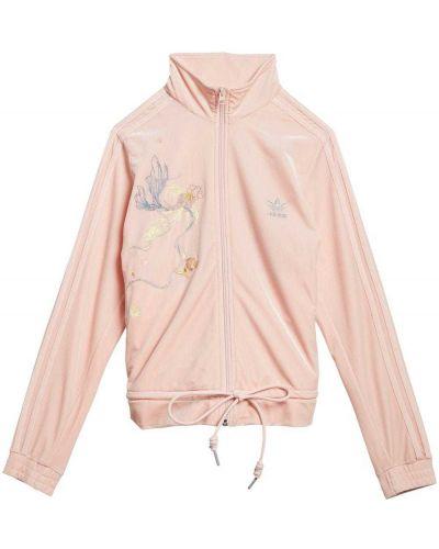 Różowy bawełna markowe długa kurtka Adidas