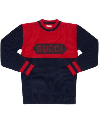 Niebieski wełniany sweter z kołnierzem z mankietami Gucci