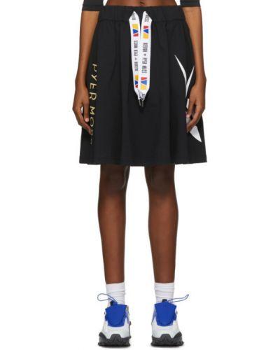Хлопковая черная юбка мини с вышивкой с карманами Reebok By Pyer Moss