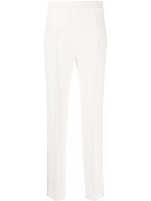 Белые брючные прямые брюки с высокой посадкой Hebe Studio