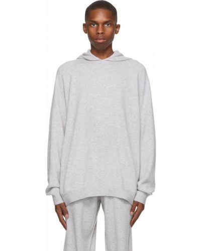 Z kaszmiru długi sweter z kapturem z długimi rękawami Frenckenberger