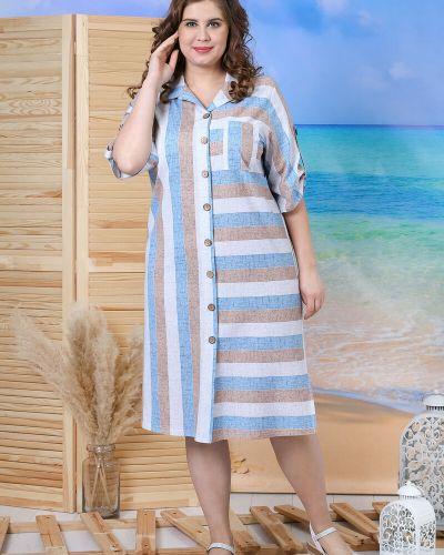 Льняное платье рубашка на пуговицах с вырезом виотекс