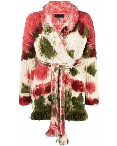 Шерстяное розовое длинное пальто с лацканами Alanui