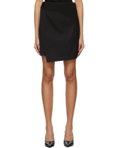 Czarny wełniany spódnica z jarzmem prążkowany Givenchy