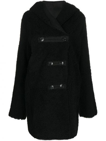 Шерстяное черное длинное пальто на пуговицах Sylvie Schimmel