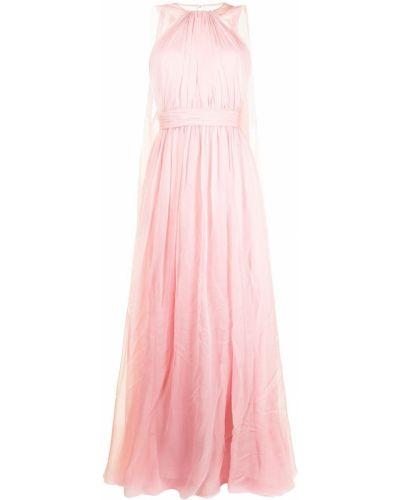 Шелковое розовое вечернее платье с открытой спиной Zuhair Murad