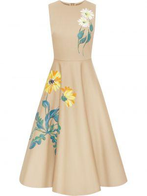 Платье без рукавов с вырезом в цветочный принт Oscar De La Renta