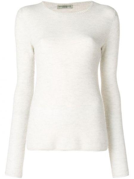 Приталенный с рукавами белый кашемировый свитер Holland & Holland