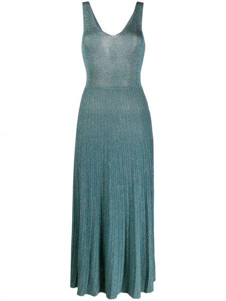 Платье миди плиссированное с V-образным вырезом Roberto Collina