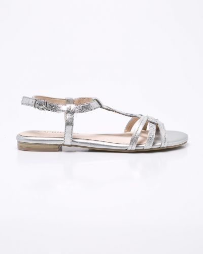 Сандалии на каблуке серебряного цвета Caprice
