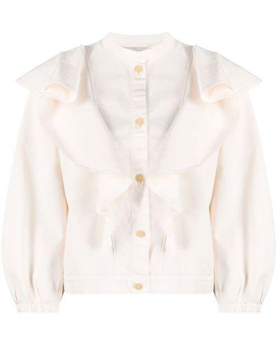Хлопковая ватная белая длинная куртка Forte Forte