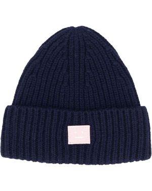 Prążkowany niebieski czapka beanie wełniany Acne Studios Kids