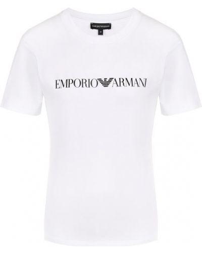 Белая хлопковая футболка с логотипом Emporio Armani