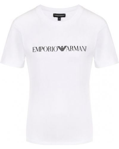 Футболка с логотипом хлопковая Emporio Armani