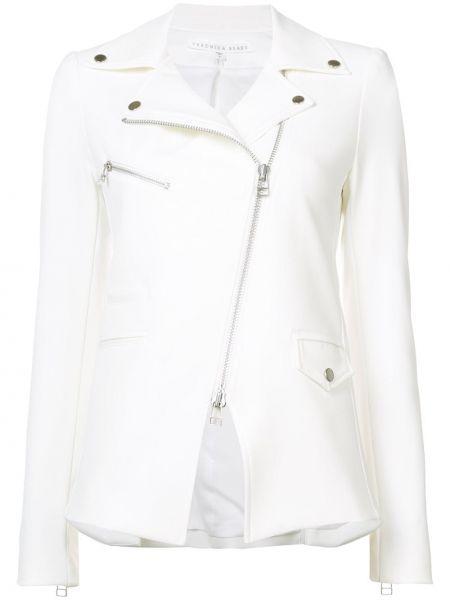 Белая куртка байкерская на молнии Veronica Beard