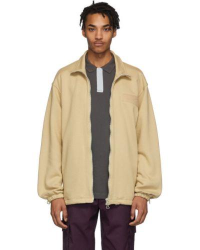 Beżowy długi sweter bawełniany z długimi rękawami Gr10k